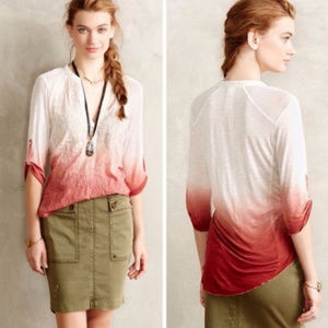 Anthropologie tiny ombre embroidered top